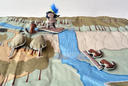 Tapis narratif : Anuki, la révolte des castors / réalisé par la Bulle expositions en partenariat avec les Editions de la Gouttière  
